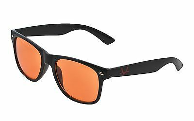 OX Legacy Blue Light Blocking Glasses, Black Hipster Red Logo w/ Orange Lenses