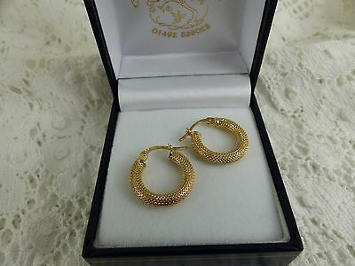 9ct, 9carat Yellow Gold Mesh Effect Hoop Creole Earrings, Snap Closure