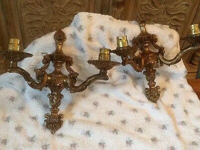 Pair Vintage Gilded Two Arm Wall Lights