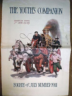 1911 Firemen Art Cover ~ Griswold Tyng ~ Horse-Drawn Fire Wagon ~ Fireman
