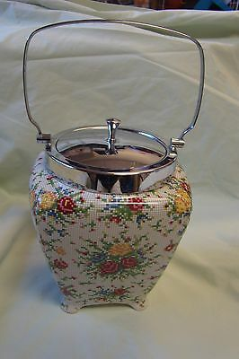 Midwinter Staffordshire England Needlepoint Chintz Biscuit Barrel  Very Nice!