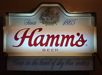 """Vintage Hamms Beer Lighted Wall Sign """"Born In The Land Of Sky Blue Waters"""" 25"""""""