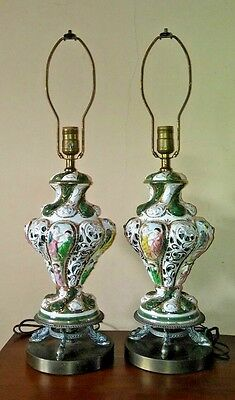 PAIR shabby COTTAGE CHIC mid century PORCELAIN maidens CAPODIMONTE lamps 1960s