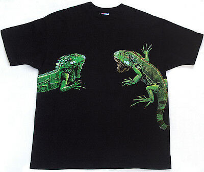 Vtg 1990s Wrap Around T Shirt XXL GREEN IGUANA reptile exotic pet lizard snake