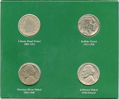American Nickels of the 20th Century Buffalo Liberty V Jefferson Coin Set JX408