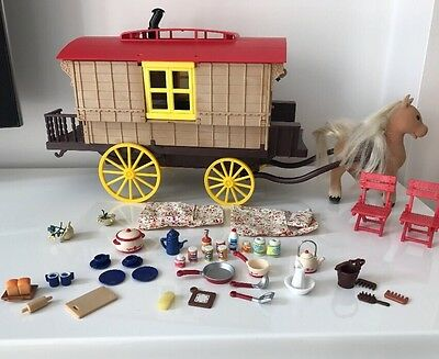 Sylvanian families Caravan & Pony Figure Set Boxed With Accessories