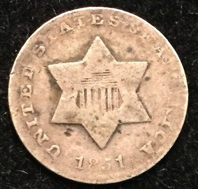 1851 3C Three Cent Silver #