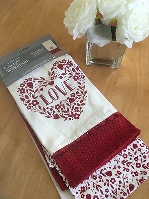 Shabby cottage Chic 3 Pack Cream Red Tea Towels new 100%cotton