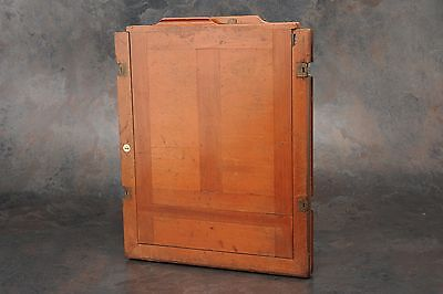 :Vintage 12x10 / 11x14 Wood Glass Plate / Film Negative Holder w Brass Hinges