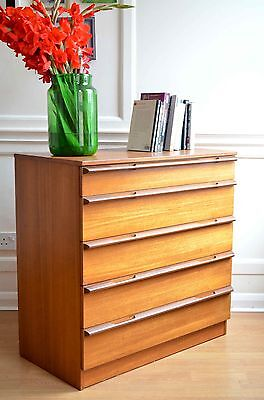 Vintage Avalon Danish style teak chest of drawers. Delivery. Modern / Midcentury