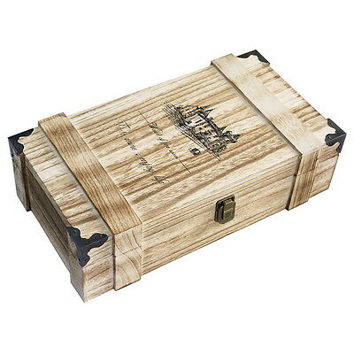 Nautral Handmade Wooden Wine Gift Box Holder for 2 Bottles With Handle Wine GH