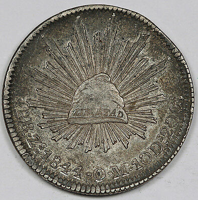 """Mexico 1844 Zs OM """"CAP AND RAYS"""" 8 Reales Silver Coin XF/AU Very Nice"""
