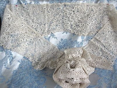 """Antique Bobbin Lace Trim Hand Made for Sewing Wedding Shawl Linens 5""""Wide x 104"""""""