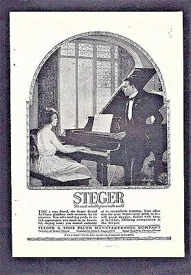 1921 Print Ad for the STEGER GRAND PIANO ~ The Most Valuable Piano in the World