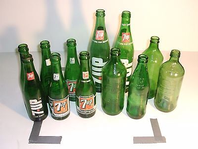 Lot of 12 - 7up Bottles 1952 Bubble Girl & Variety of others