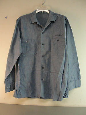 Post Ww2 Wwii Military Usn Us Navy Cotton Chambray Denim Work Shirt Vintage