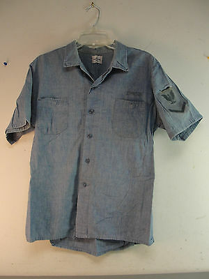 Post Ww2 Wwii Military Usn Us Navy Cotton Chambray Denim Seafarer Shirt Vintage
