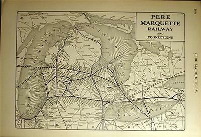 Dated 1922 Pere Marquette Railroad Pm Rr System Map Michigan Depot History