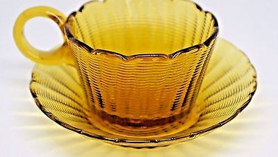 Stevens & Williams Amber Threaded Glass Cup and Plate