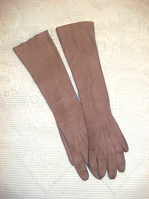 Taupe Kid Suede Leather 19 in. Long Ladies Gloves 3 Buttons at Wrist Sz.7 1/2