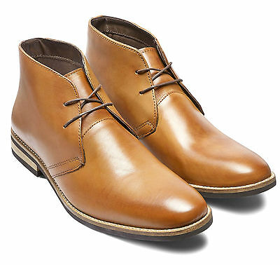 Mens Tan Leather Lace Up Chukka Ankle Boots Size 10 EU 44