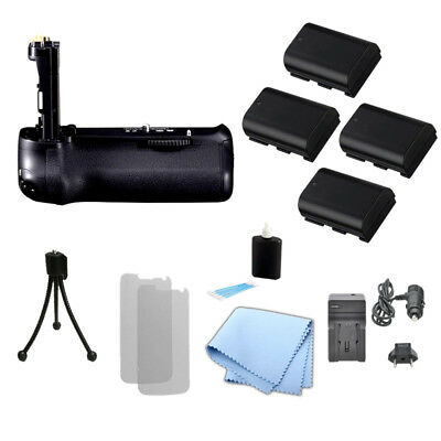 Battery Grip for Canon BGE14 & 70D Camera, 4 LPE6/6N Battery + Charger + Kit