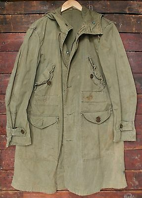 WWII US ARMY M-43 M-47 HOODED OVERCOAT PARKA AVIATORS CLOTHING 40s VTG SMALL