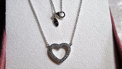 Loving Hearts of  PANDORA Sterling Silver Necklace. S925 ALE with BOX.
