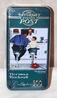 "NEW Norman Rockwell ""The Runaway"" Collector Tin 500 Piece Puzzle  Factory Sealed"