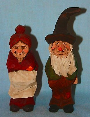 Wooden ~  Hand Carved Old Woman & Man ~ Dated/Signed ~ Country ~ Hillbilly
