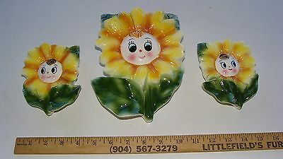 Set of 3 Vintage Anthropomorphic Sunflower Wallpocket Wall Pocket Planters