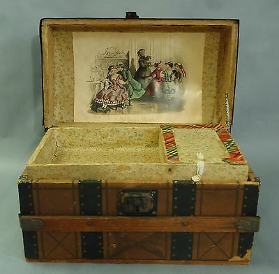 "Antique French Wooden Doll Dome Trunk ""La Poupee Modele"" for small Jumeau doll"
