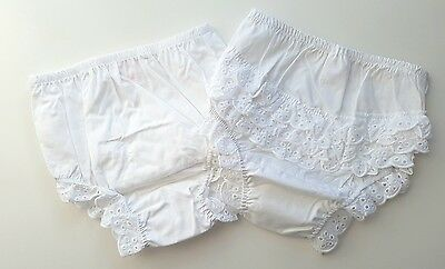 Baby girls cotton frilly pants white 0-6, 6-12, 12-18 months