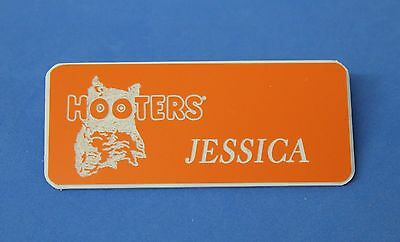 Hooters Restaurant Girl Jessica Orange Name Tag (Pin)