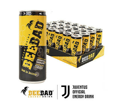 BEEBAD Energy Drink 250ml slim can (24 unit case) Sweetened with natural HONEY