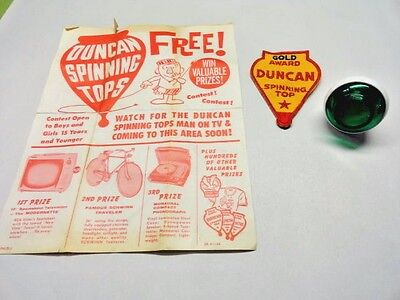 Vintage Duncan Imperial Yo-Yo With Gold Award Patch and 1962 Contest Flyer