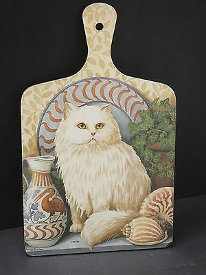 Vintage White Persian Kitty Cat Kitten Cutting Board Wall Plaque