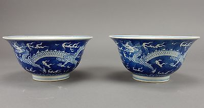 Pair of Antique Chinese Blue and White KANG XI Dragon Bowls 7.25""