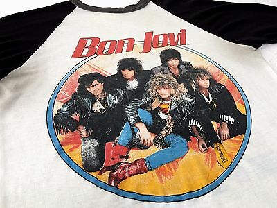 TRUE VTG 80s 1987 BON JOVI Concert Tour Raglan Jersey T Shirt SLIPPERY WHEN WET