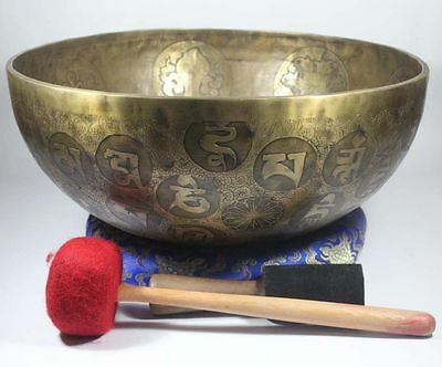 "12""Special Tibetan Chakra Carving Singing Bowl, Beaten Hammered Nepal Yoga Bowls"