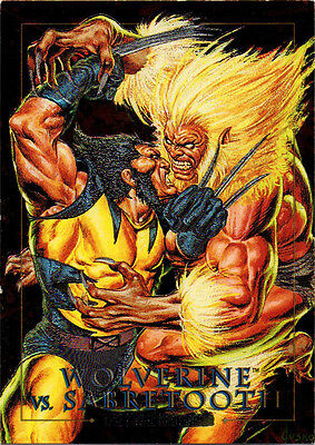 1992 Marvel Masterpieces Skybox Battle Spectra Wolverine vs. Sabretooth #5-D