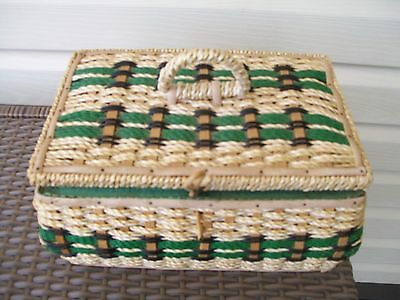 Extra Large Vintage Retro Woven Cane Sewing Box with sewing accessories