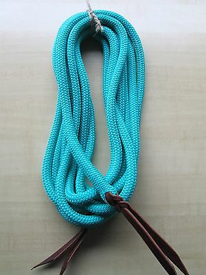 "22' x 9/16""  TURQUOISE Aqua Yacht Rope Mecate Reins BACKSPLICED Popper Ends USA"