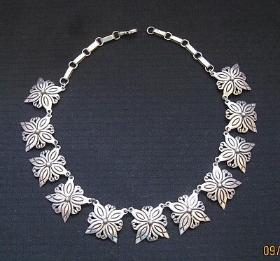 Vintage Taxco Mexican Sterling Silver Floral Necklace