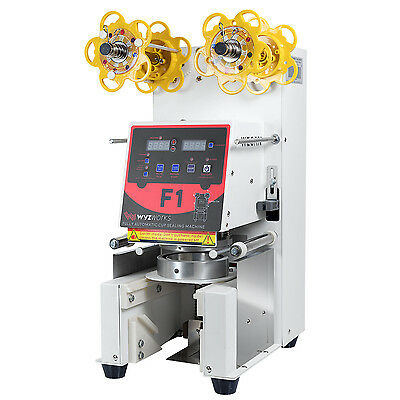 F1 420W Fully Automatic Cup Sealer Machine Coffee Bubble Boba Tea Milk White