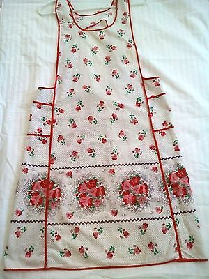 Vintage Apron Over-The-Head Full Bib Red Pink Flowers