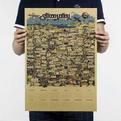 Silicon Valley map / kraft paper decoration poster