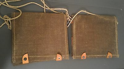 VTG WWII Canvas Swedish Military Issued Map Case-Carrier Bag w/ Leather Straps