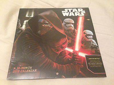 "NEW SEALED 2016 Star Wars The force Awakens 16 Month Mini Wall Calendar 7""X7"""