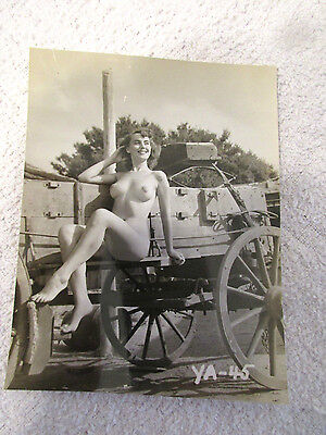 Vintage 1950s  Farm Girl On Tractor B/W Nude Pinup Original Photograph 4.5 x 3.5